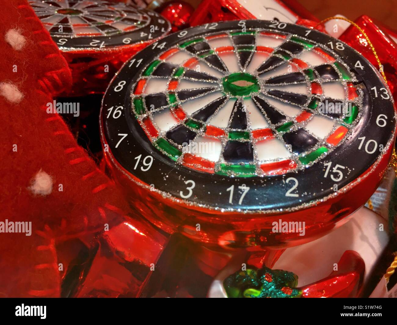 Close-up of roulette wheel Christmas ornament - Stock Image