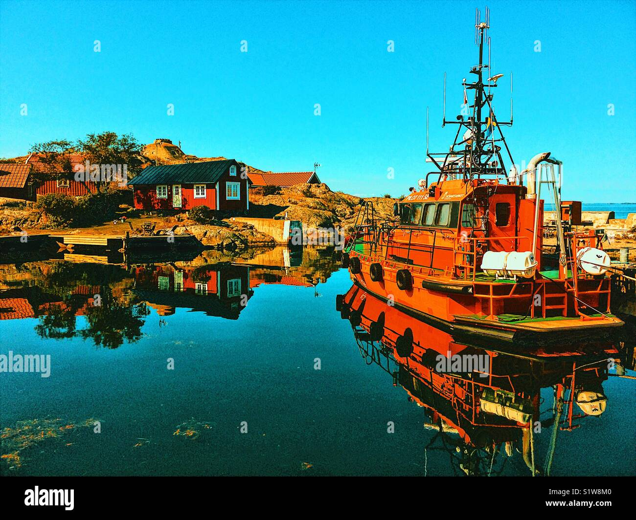 Pilot boat in Vasterhamn (west harbour) on the island of Oja at the southern end of the Stockholm archipelago, Sweden, Stock Photo