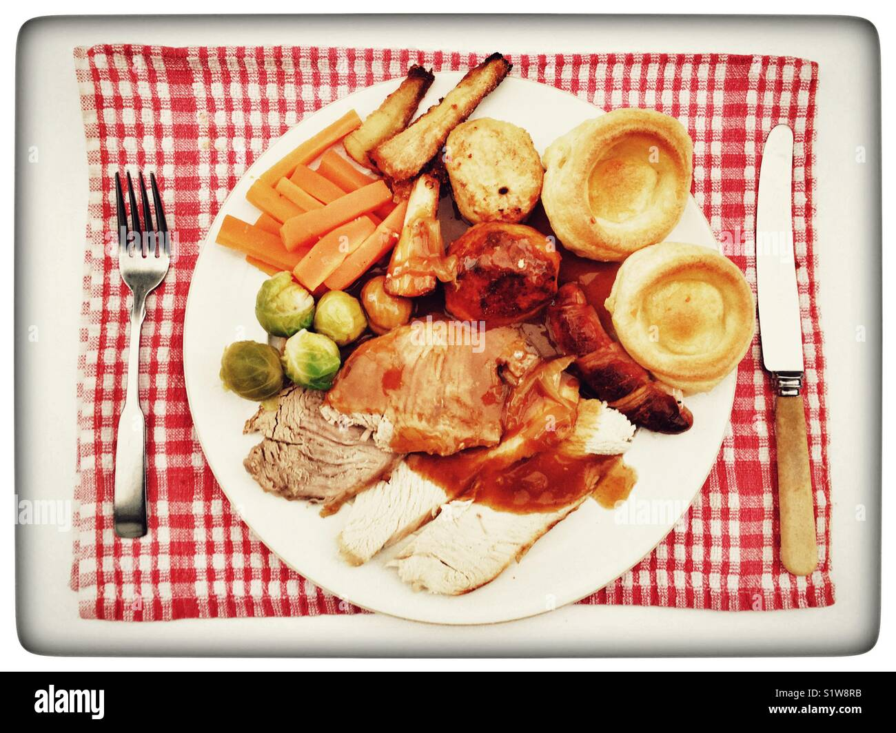 traditional british christmas dinner stock image