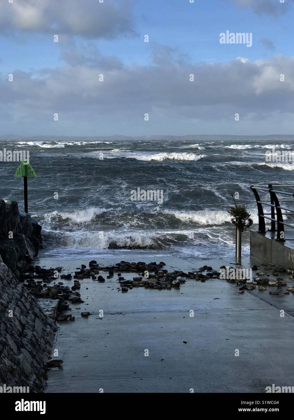 Stormy seas, Little Haven, Pembrokeshire - Stock Image