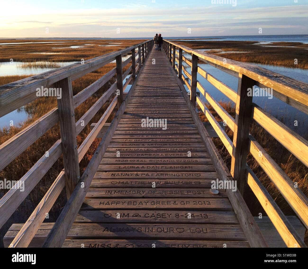 Boardwalk, Grays Beach, Yarmouth Port, Cape Cod, Massachusetts - Stock Image