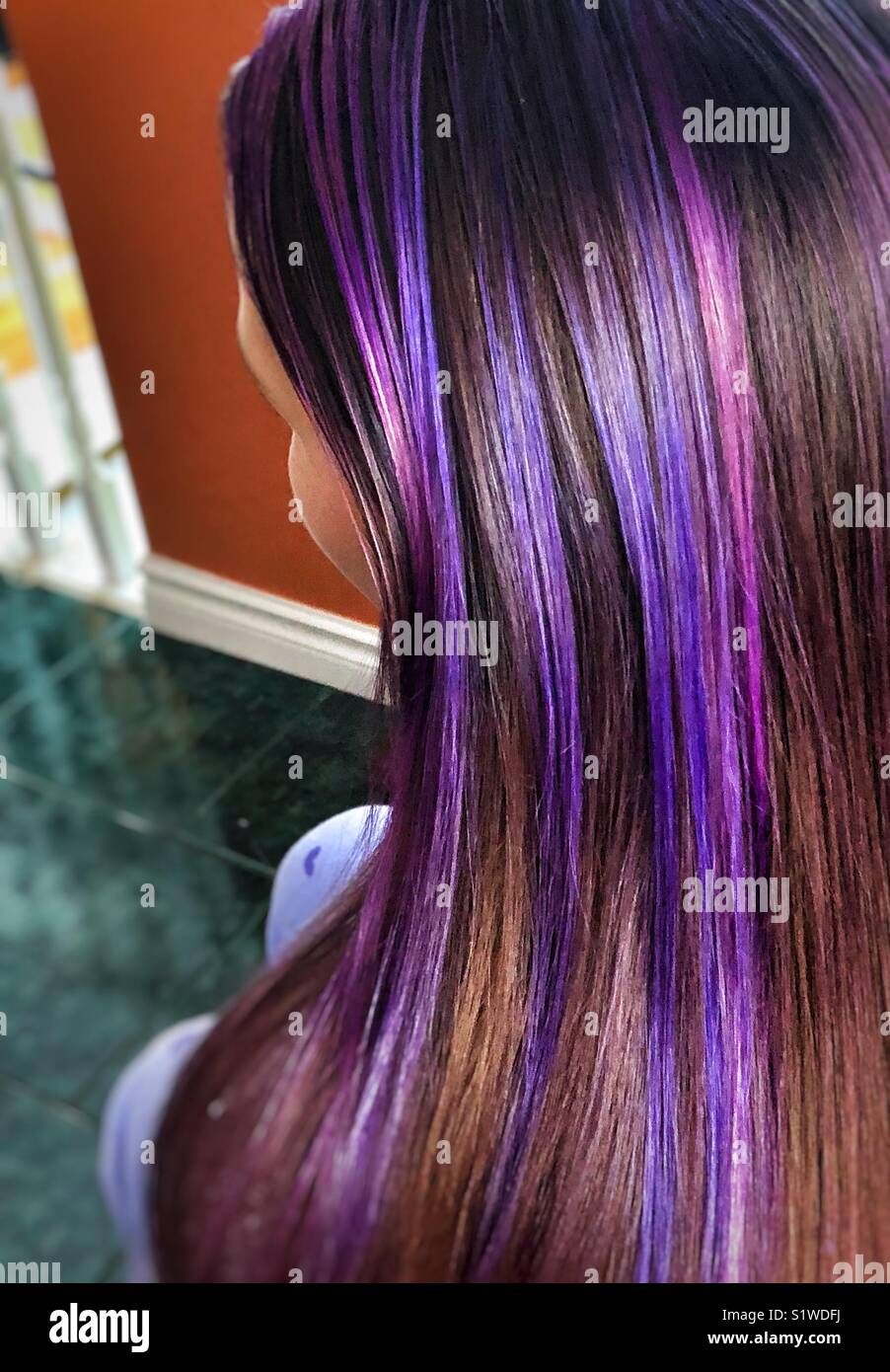Purple Lavender And Ultra Violet Hair Streaks Freshly Done At Home