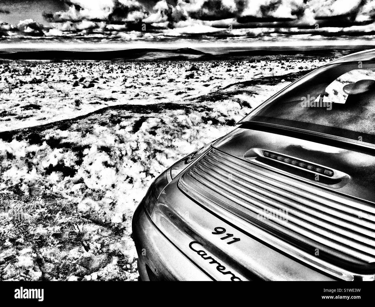 Porsche 911 Carrera rear end spoiler Stock Photo