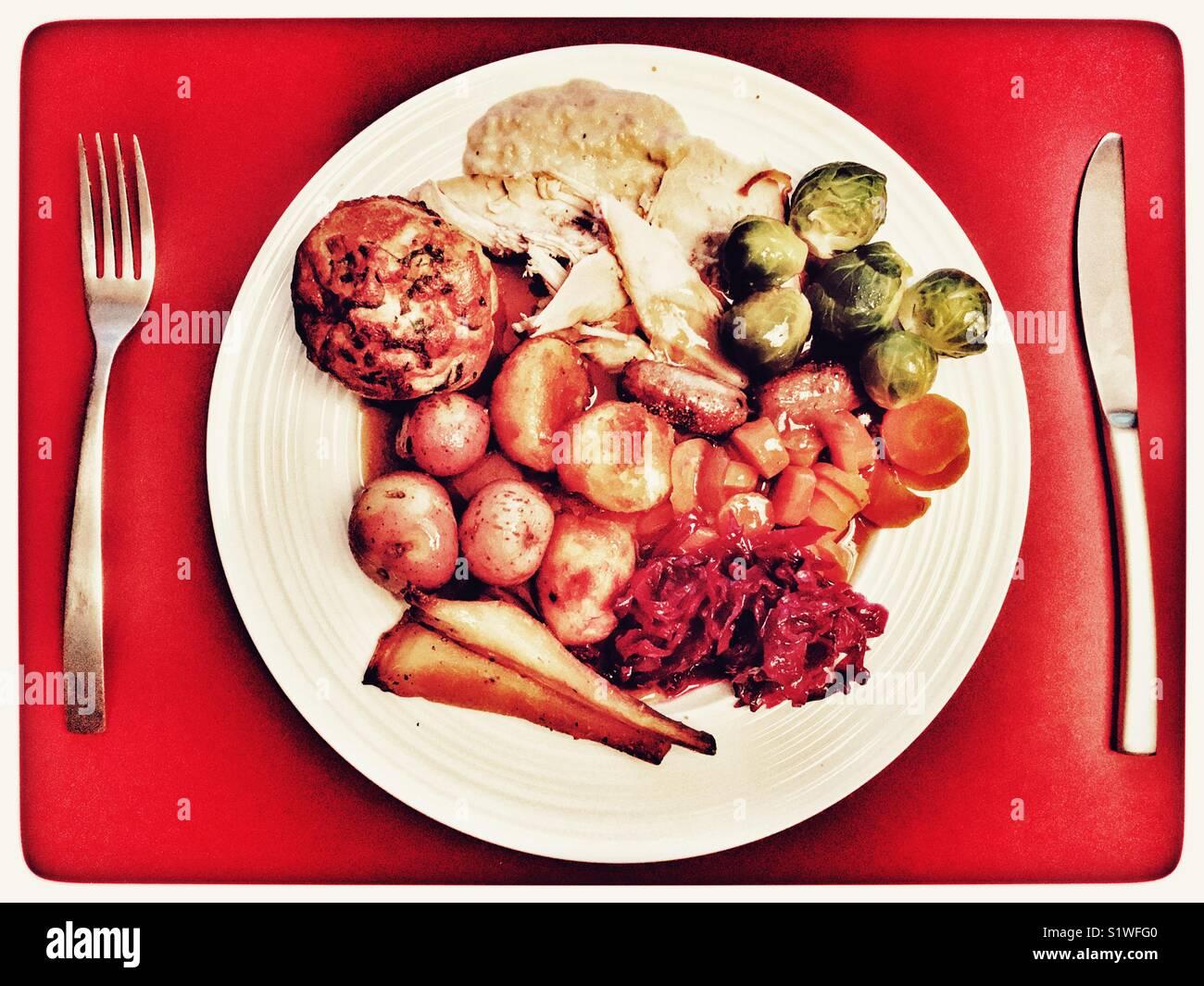 traditional british christmas dinner stock image - British Christmas Dinner