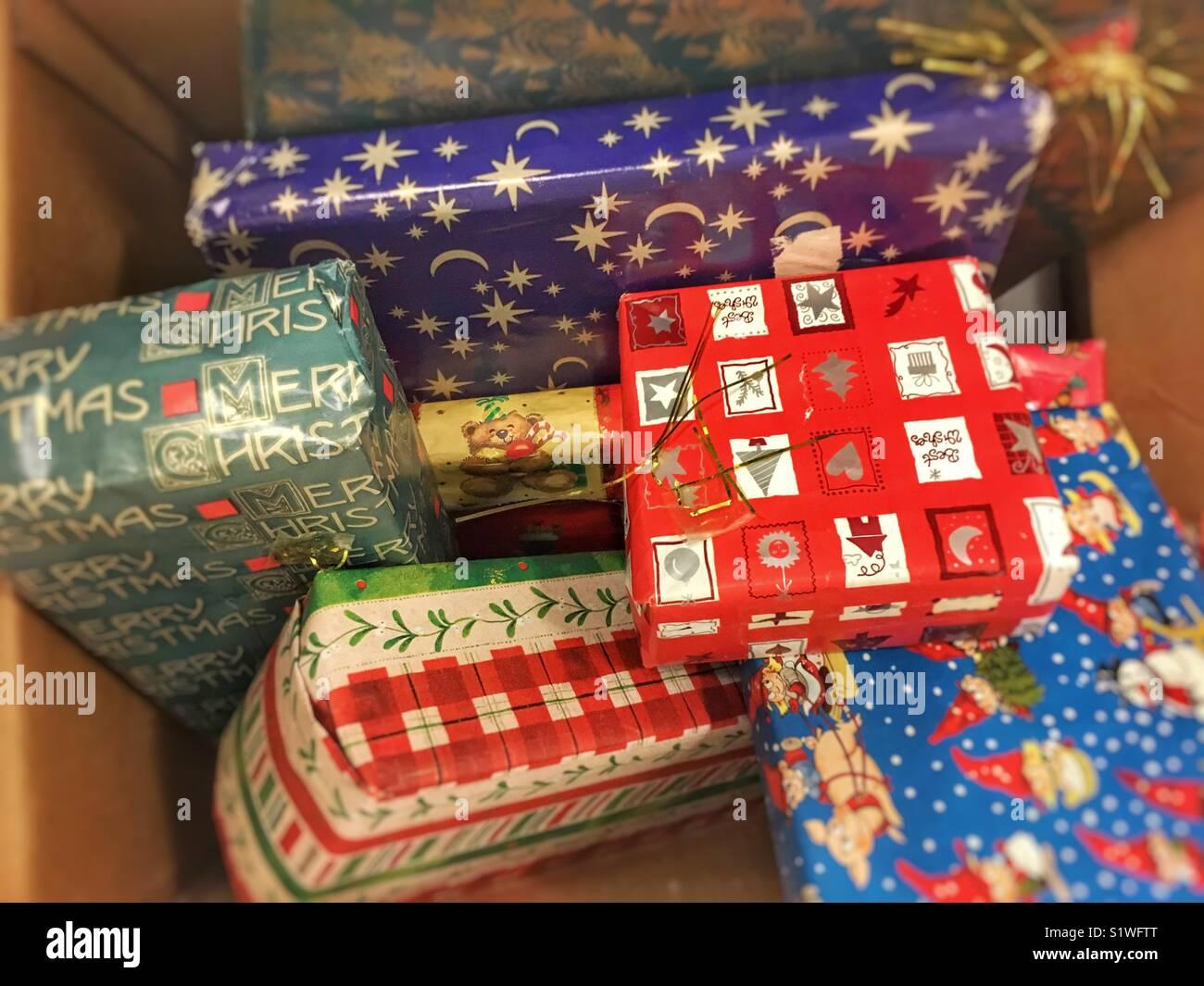 Stash of Christmas gifts. - Stock Image