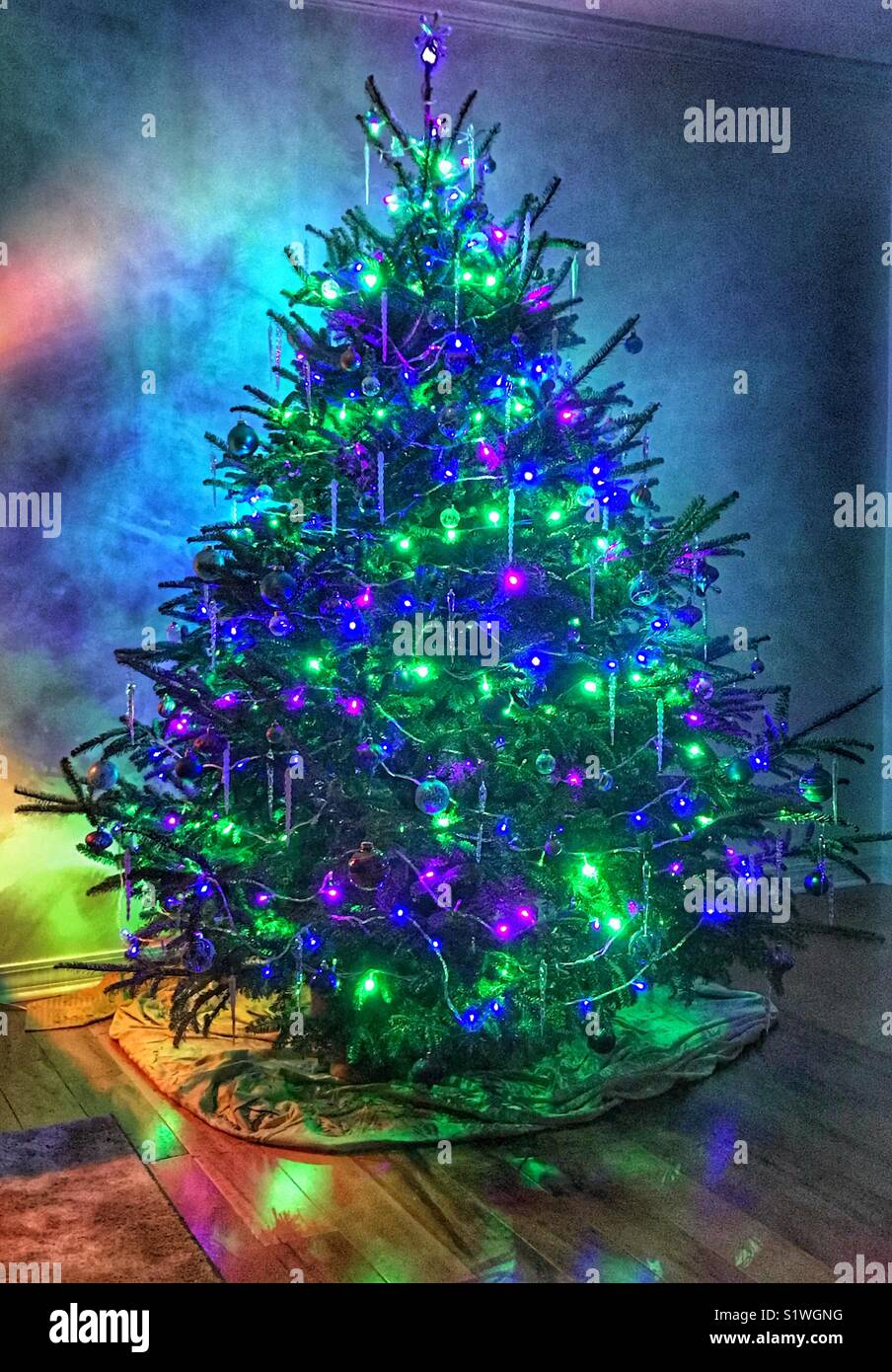 Magical Christmas Tree With A Rainbow Glow Stock Photo 310963228