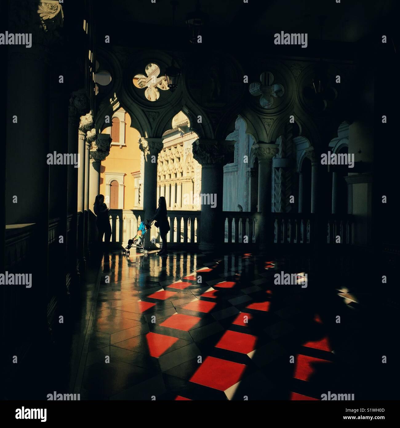 Shadows And Light In Venice Stock Photos Venezia Antique Bronze Wire Wall Evening Casts Long Hotel Las Vegas Nevada Image