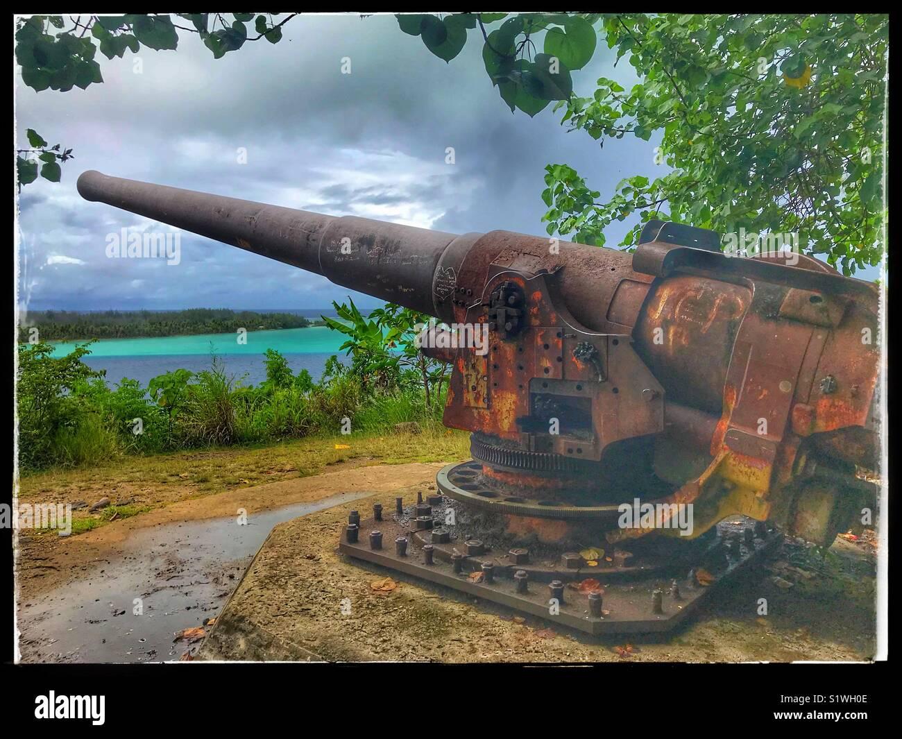 Gun From Wwii On The Island Of Bora Bora In French Polynesia Stock