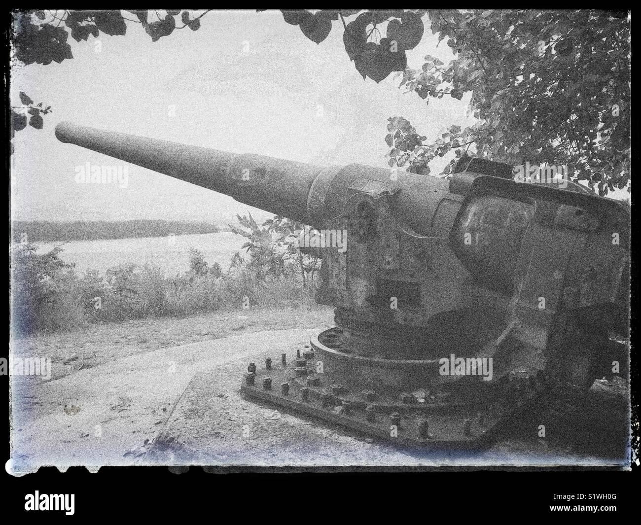 Gun From World War Ii On The Island Of French Polynesia Bora Bora