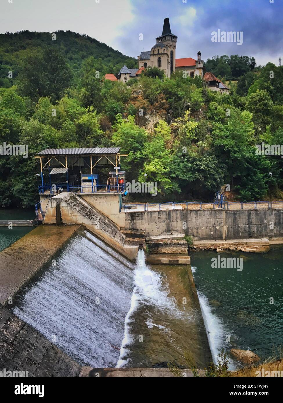 Dam on a Rvaz River near Arilje town in Serbia - Stock Image