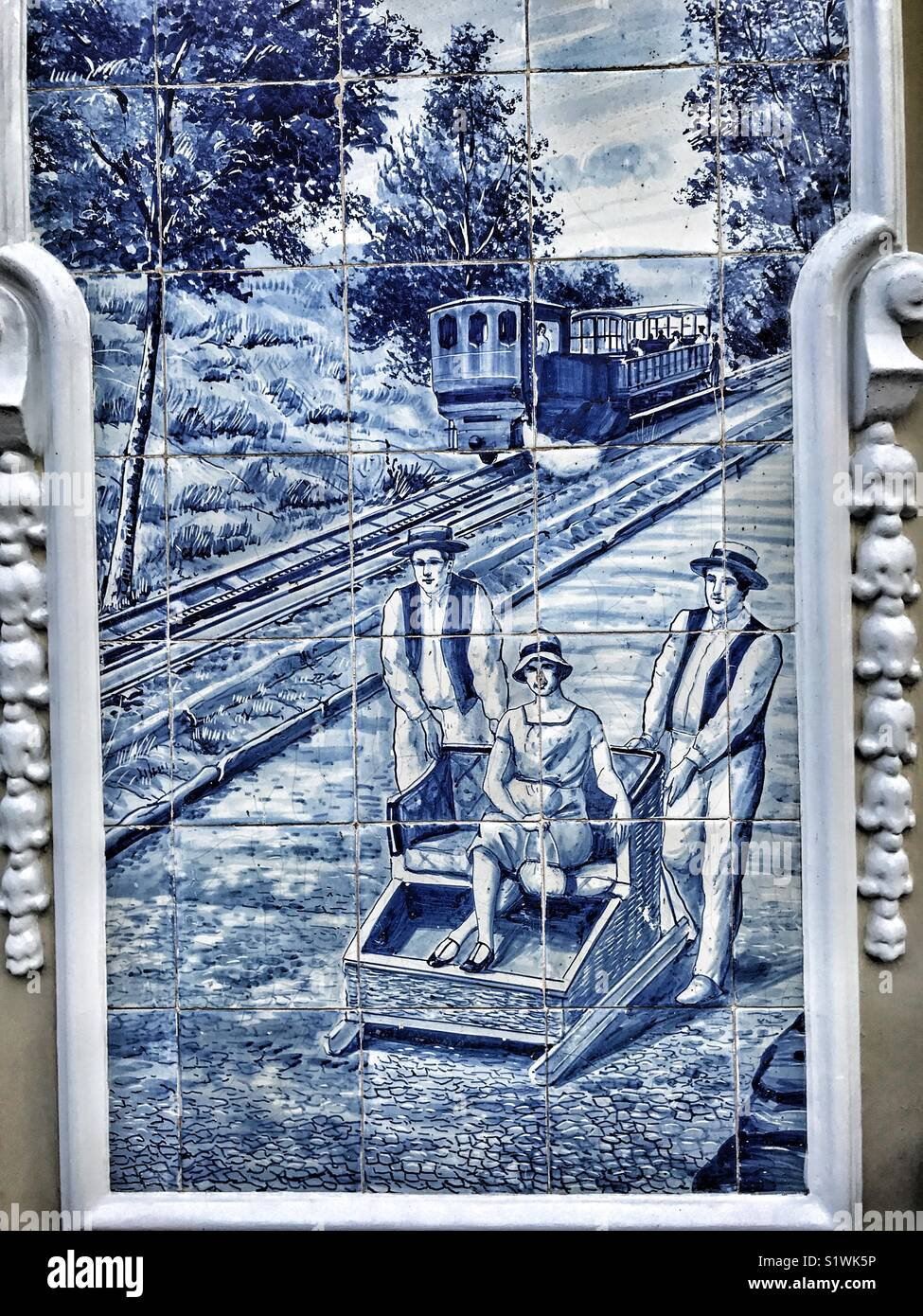 Blue and white tin-glazed ceramic tile picture decorating an ...