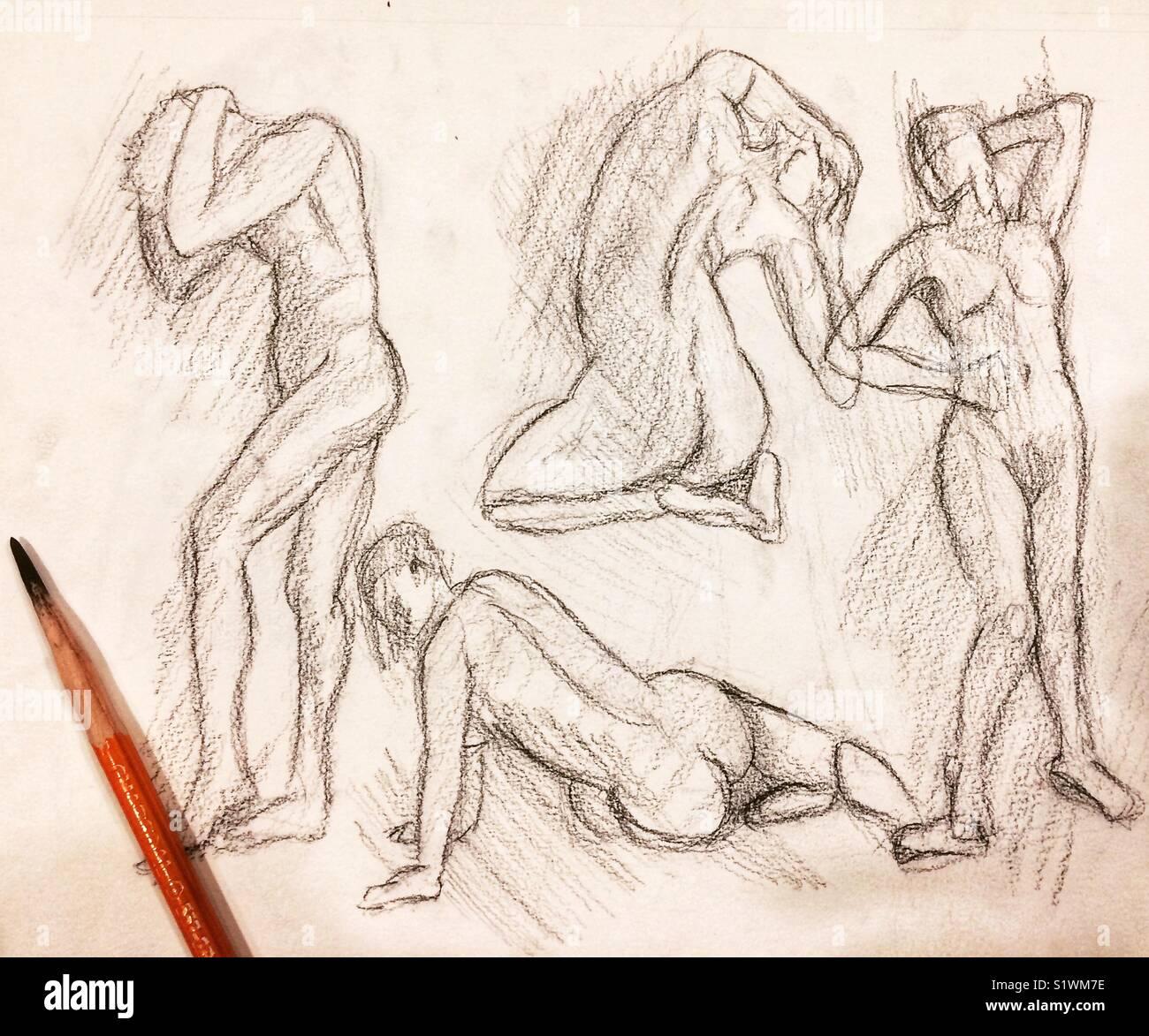 Figure drawing art study charcoal pencil sketch