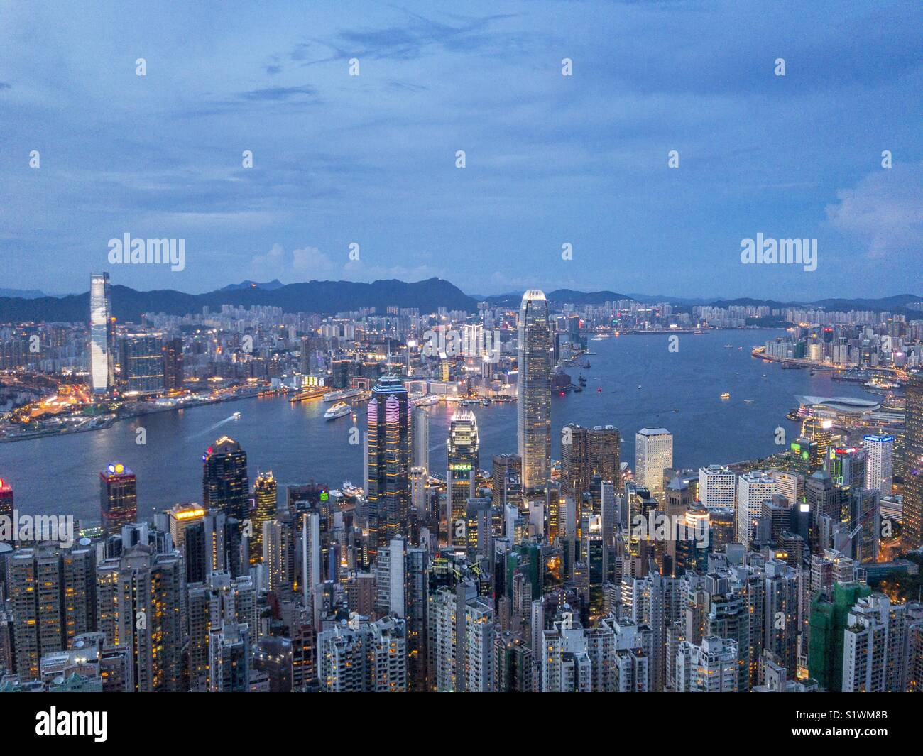 Hong Kong Victoria Harbour view from the Peak - Stock Image