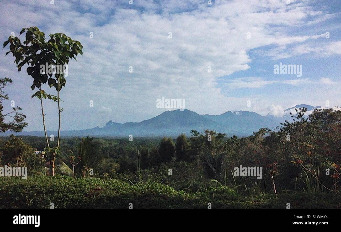 A painting like view over mount Salak - Sukabumi region of Java - Stock Image