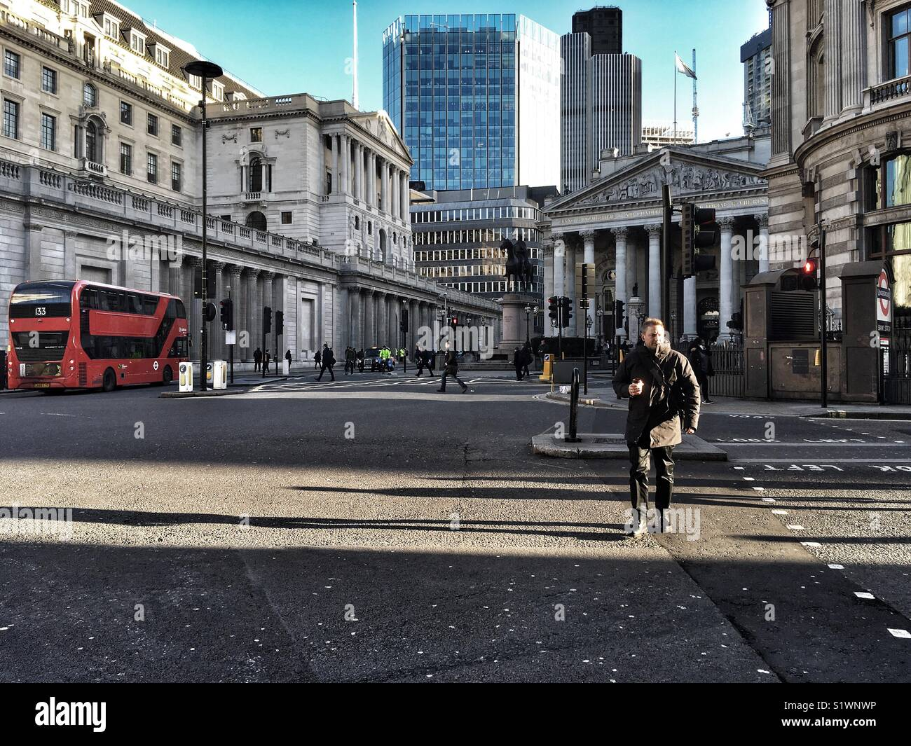 Traffic at Cornhill and Bank Junction in the City of London, England on January 16 2018 - Stock Image