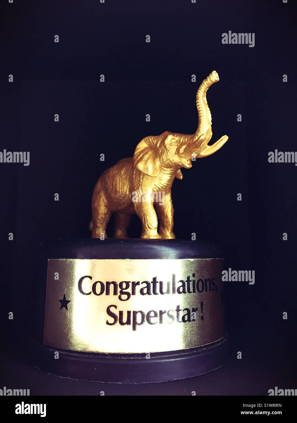 A gold elephant figurine on a trophy stand. - Stock Image