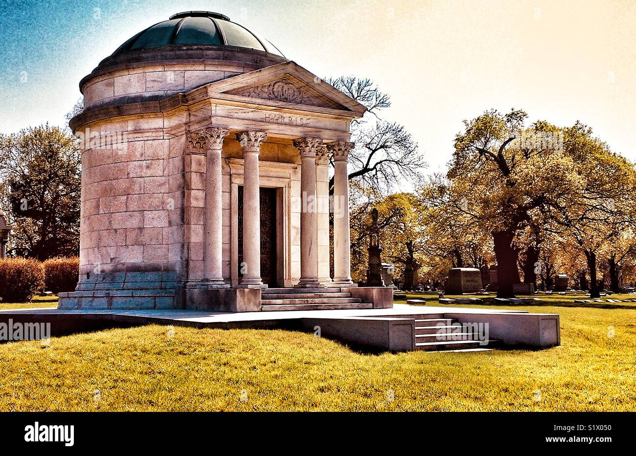 Mausoleum in Rosehill Cemetery, Chicago, Illinois Stock Photo