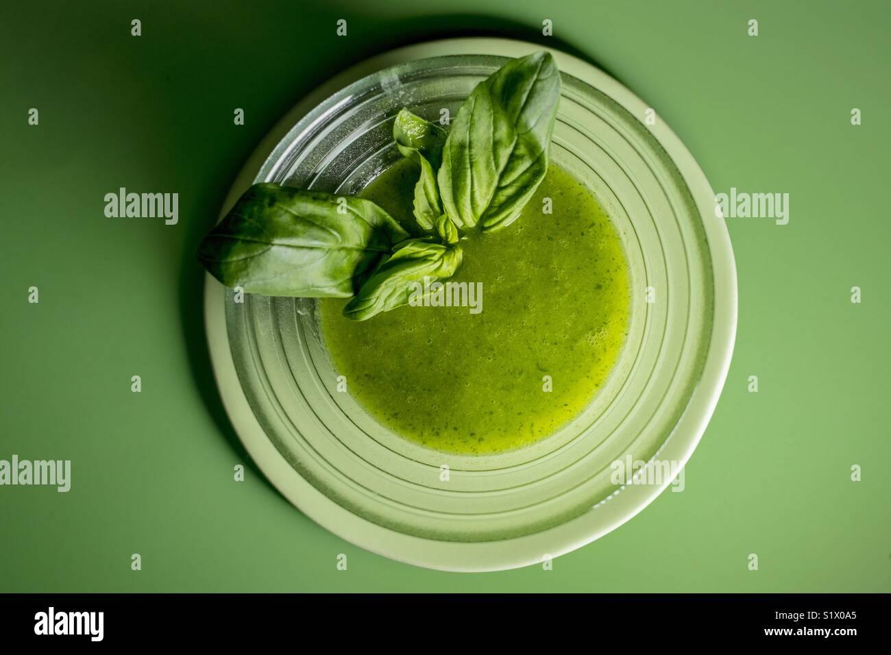 Green monochromatic- soup - Stock Image