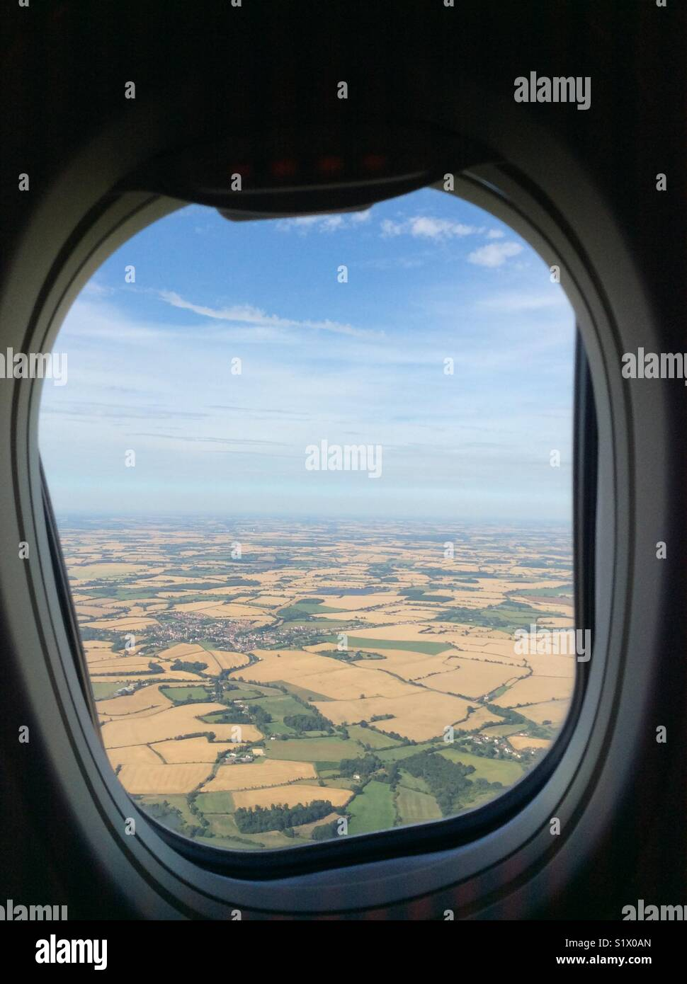 View from aeroplane window of British countryside - Stock Image