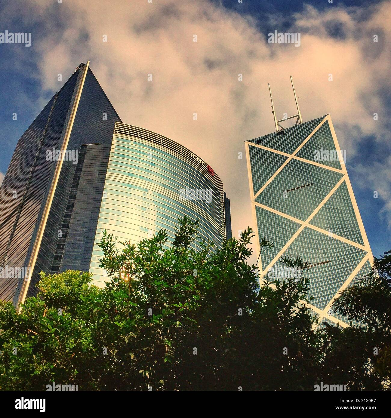 (L to R) Champion Tower and ICBC Tower at 3 Garden Road, and the Bank of China Tower at 1 Garden Road, Central, - Stock Image