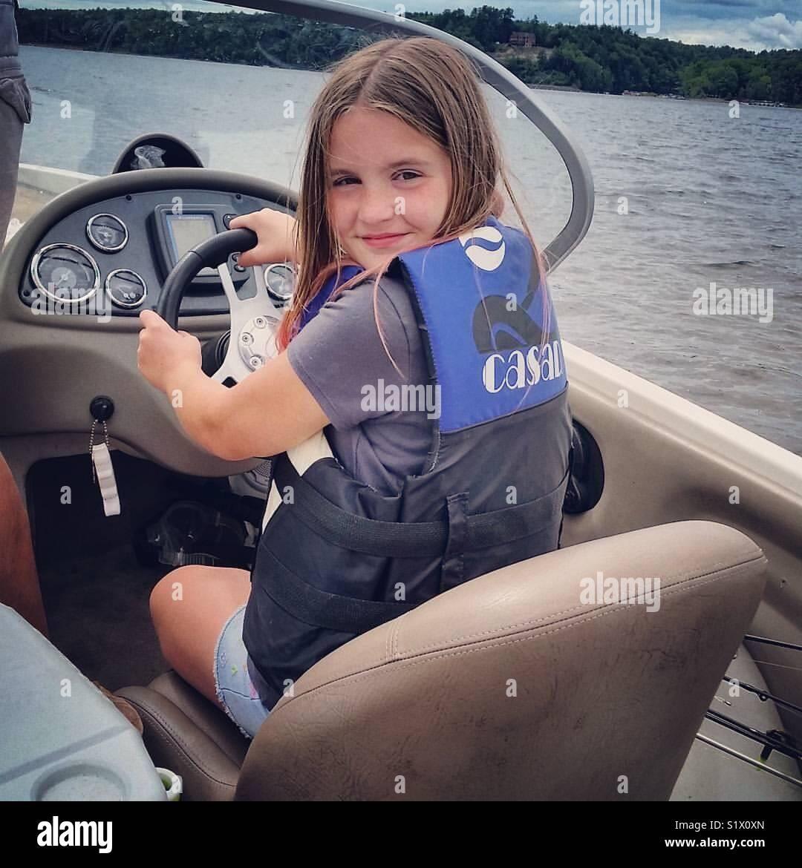 Summer boat girl - Stock Image