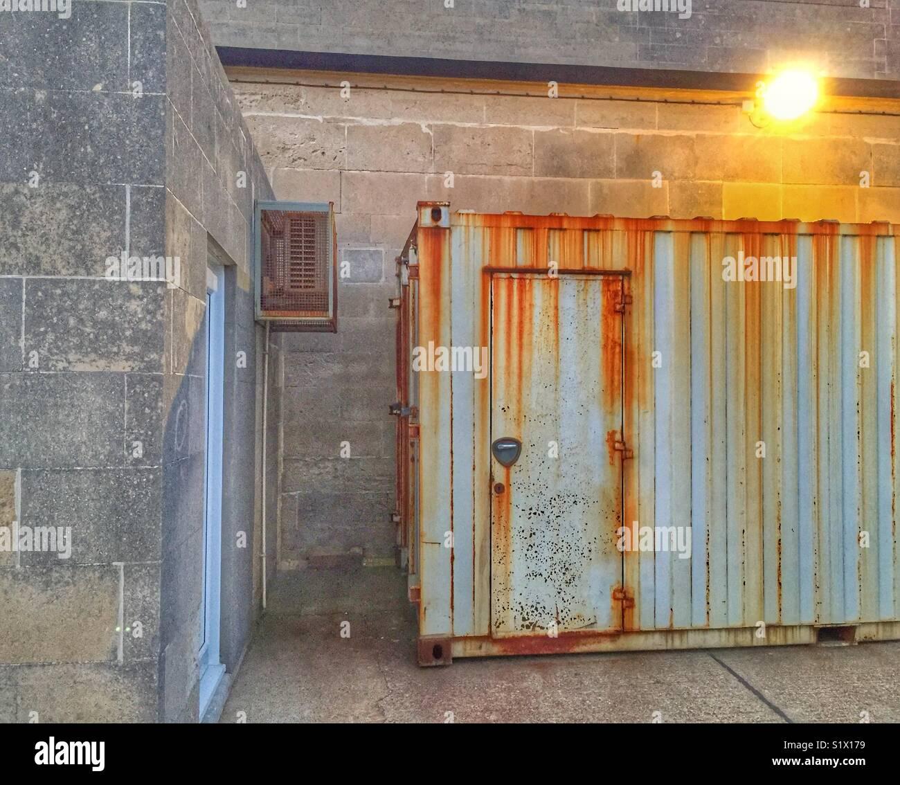 Industrial Metal Storage Shed - Stock Image