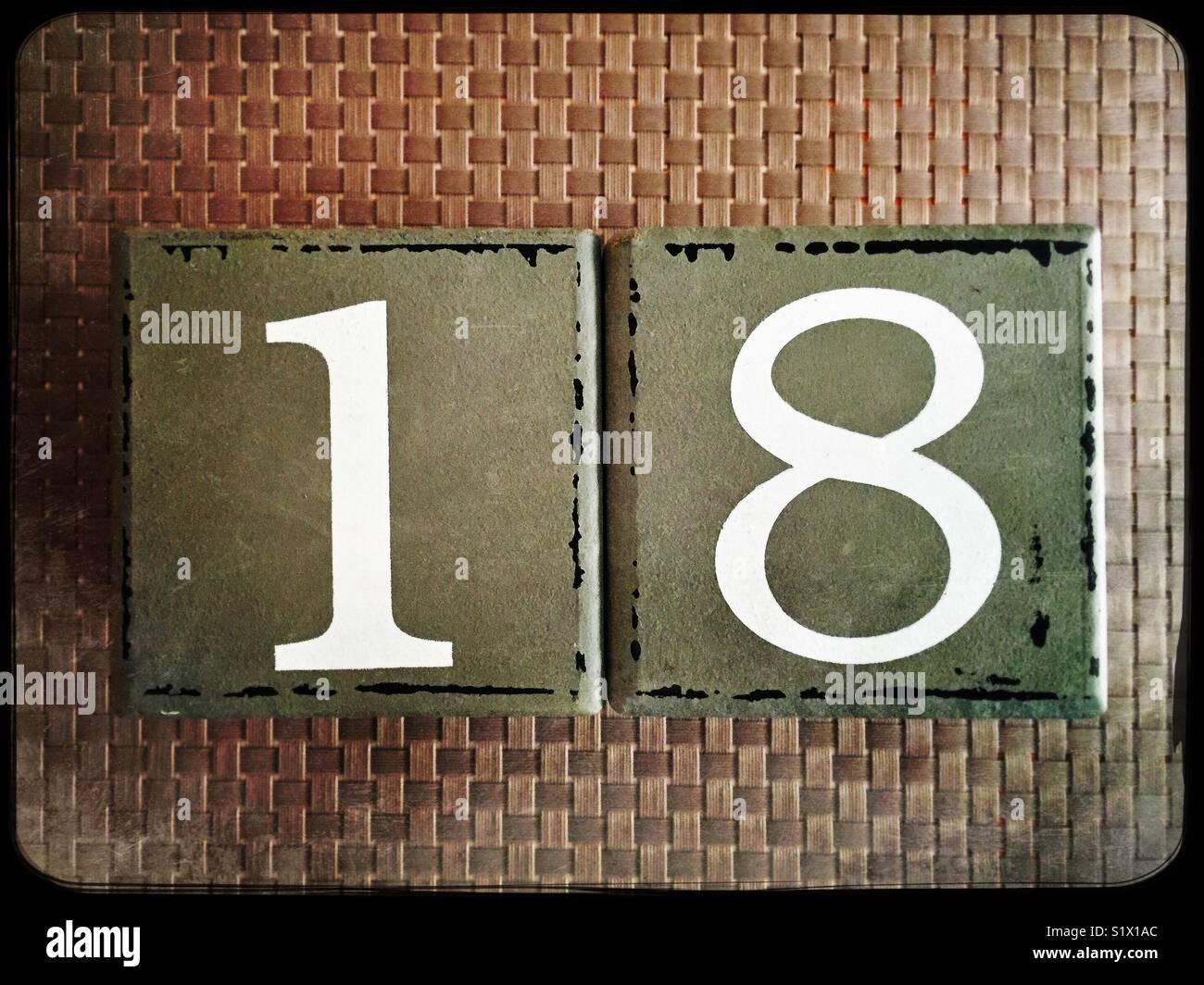 Number eighteen - Stock Image