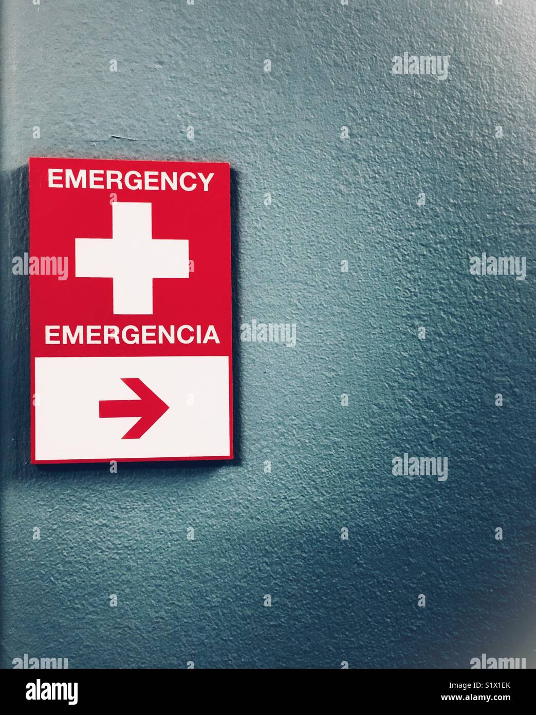 Emergency Room Sign At A Busy City Hospital