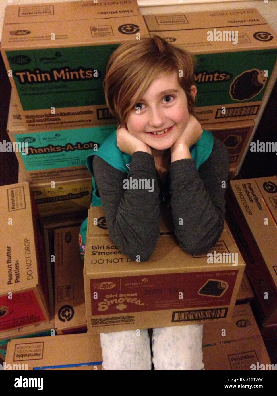 Girl Scout junior selling cookies for the fifth year! Pictured on her homemade cookie throne of 250 boxes of cookies! - Stock Image