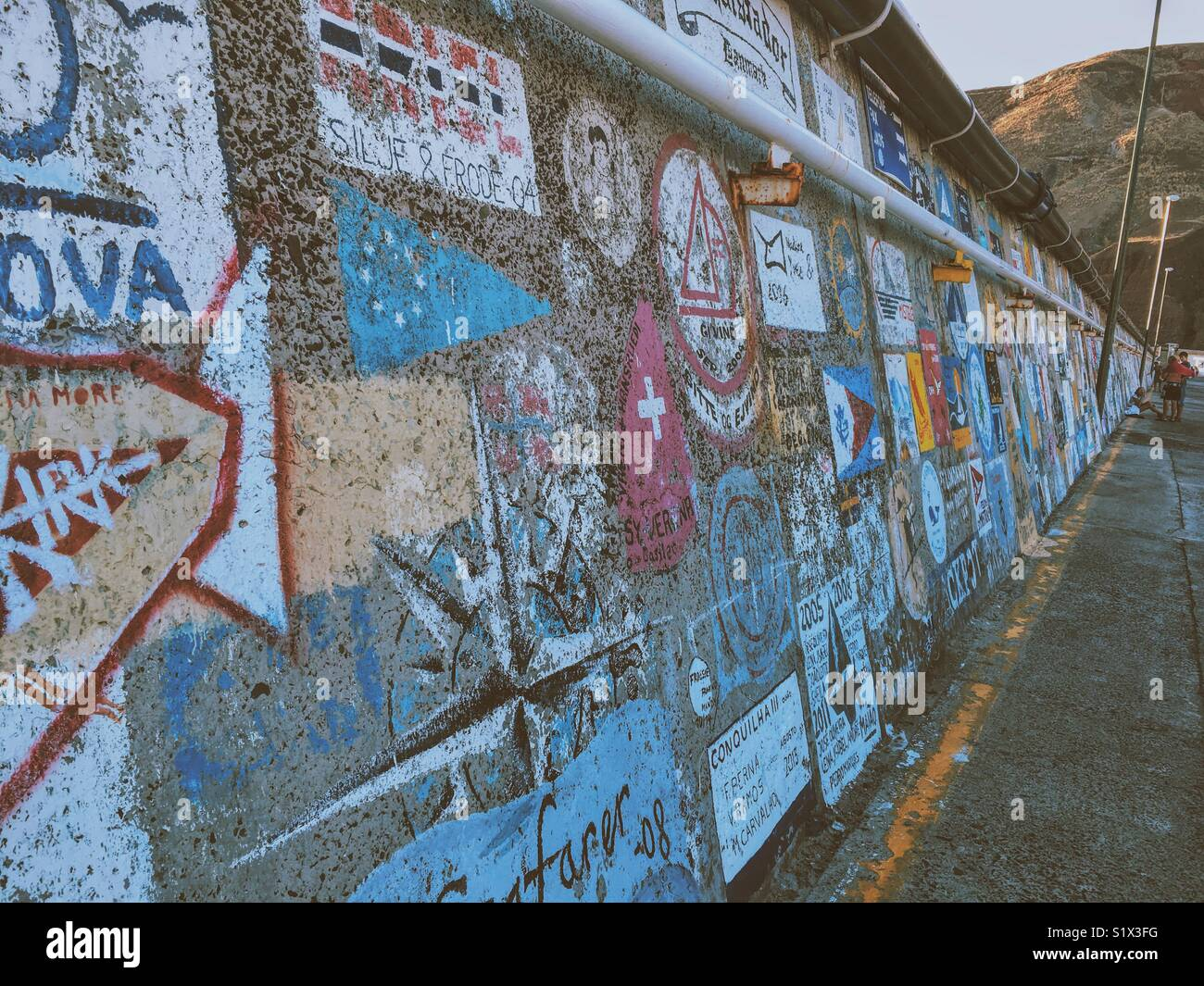 Wall in dock at Porto Santo - Stock Image