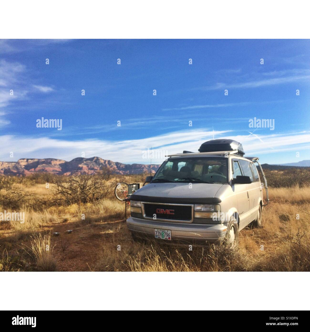 Converted van life in the southwest. Solar energy outfitted. Stock Photo