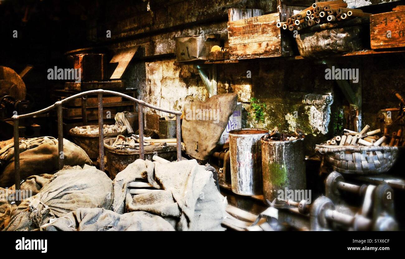 Workshop in Masson Mill, Matlock Bath, Derbyshire, England, UK Stock Photo