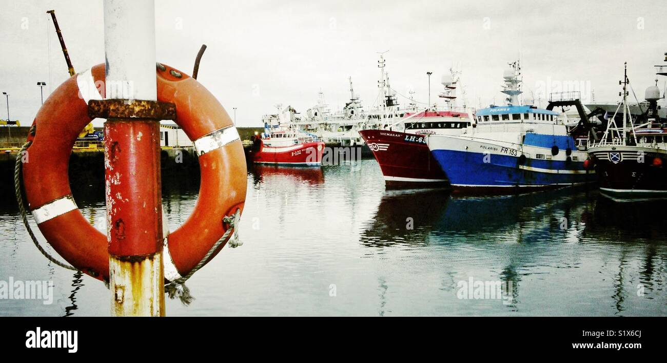Fishing boats in Fraserburgh harbour,Scotland, UK - Stock Image