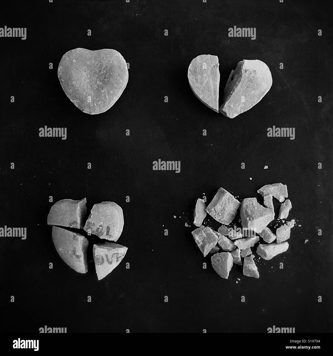 Conceptual: stages of love and break up. - Stock Image