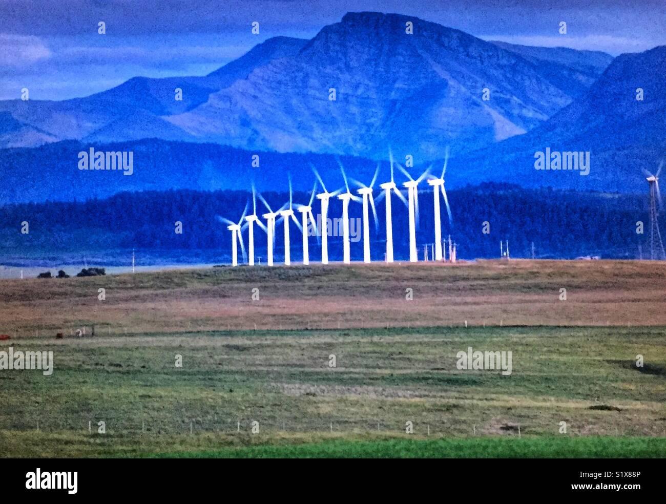 Wind farm in Alberta, Canada - Stock Image