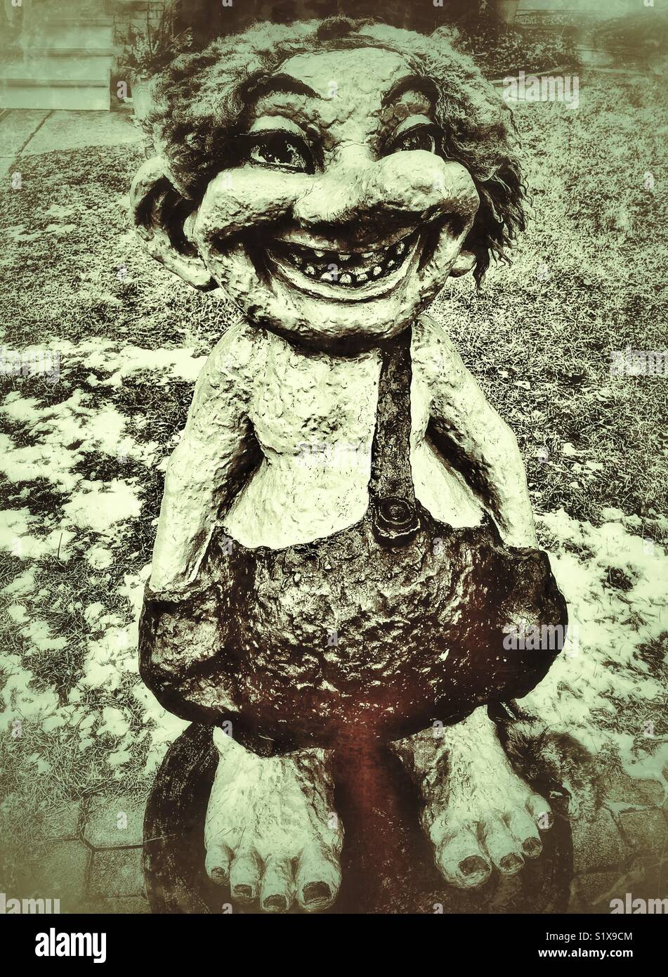 Troll statue with suspenders, Mount Horeb, WI - Stock Image