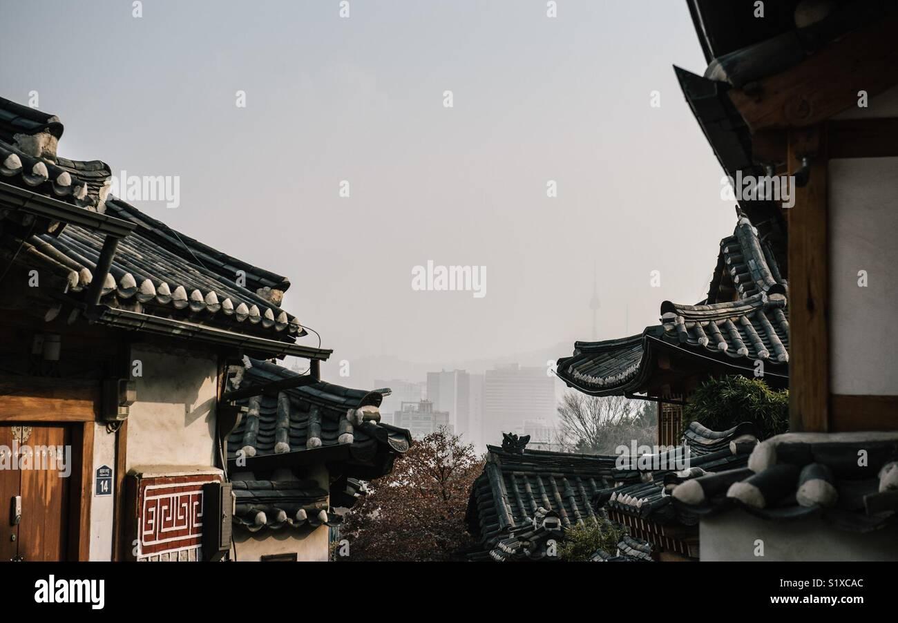 Hanok village in Seoul, South Korea - Stock Image