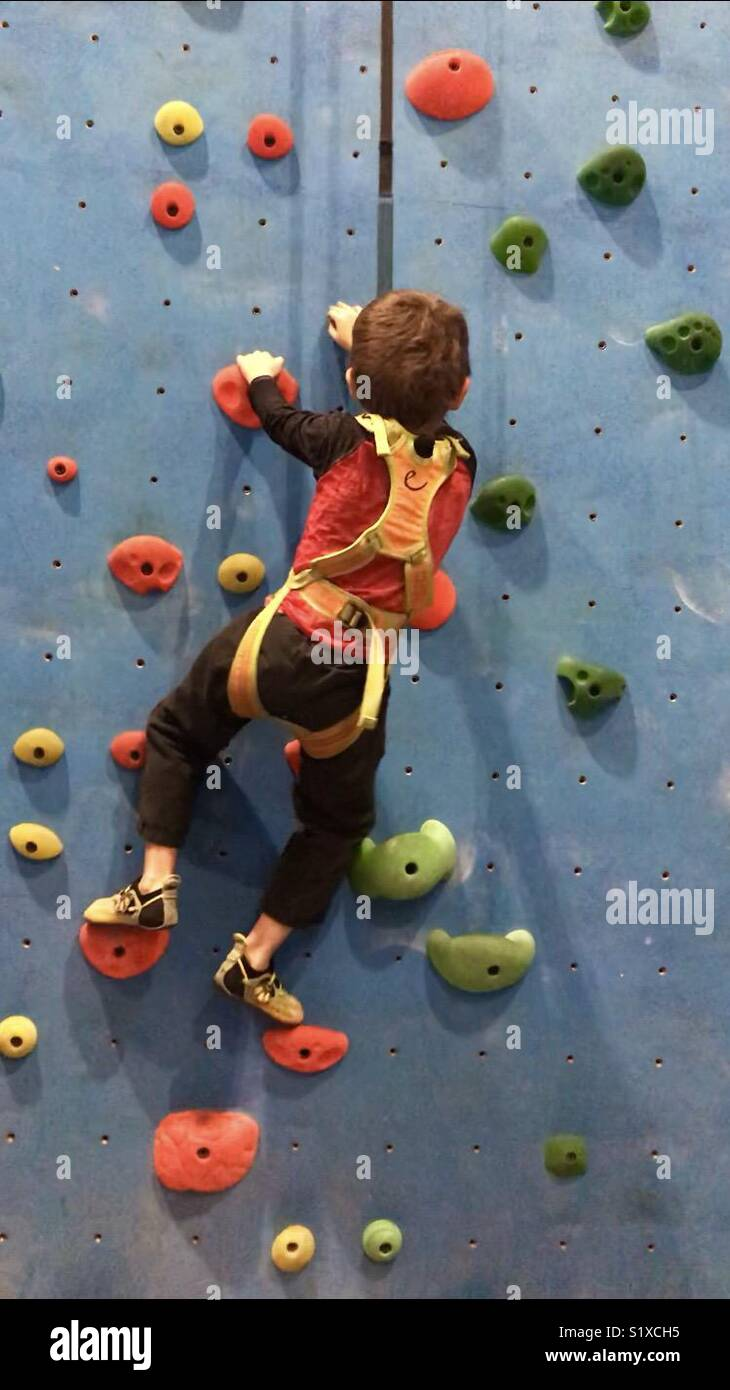 Young boy climbing on blue wall at climbing gym - Stock Image
