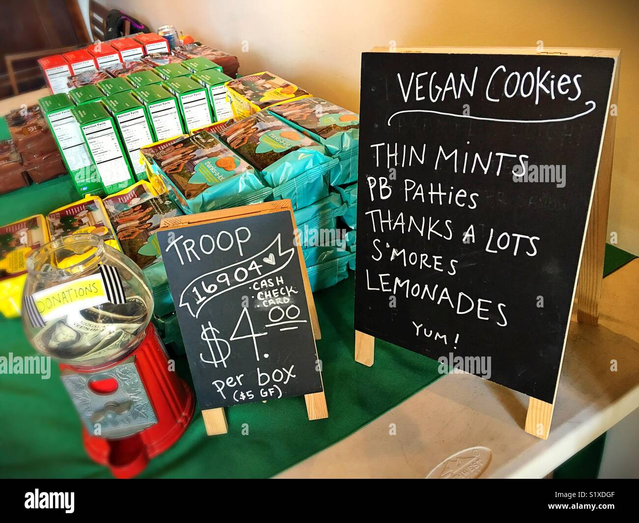 A vegan Girl Scout cookies sale. - Stock Image