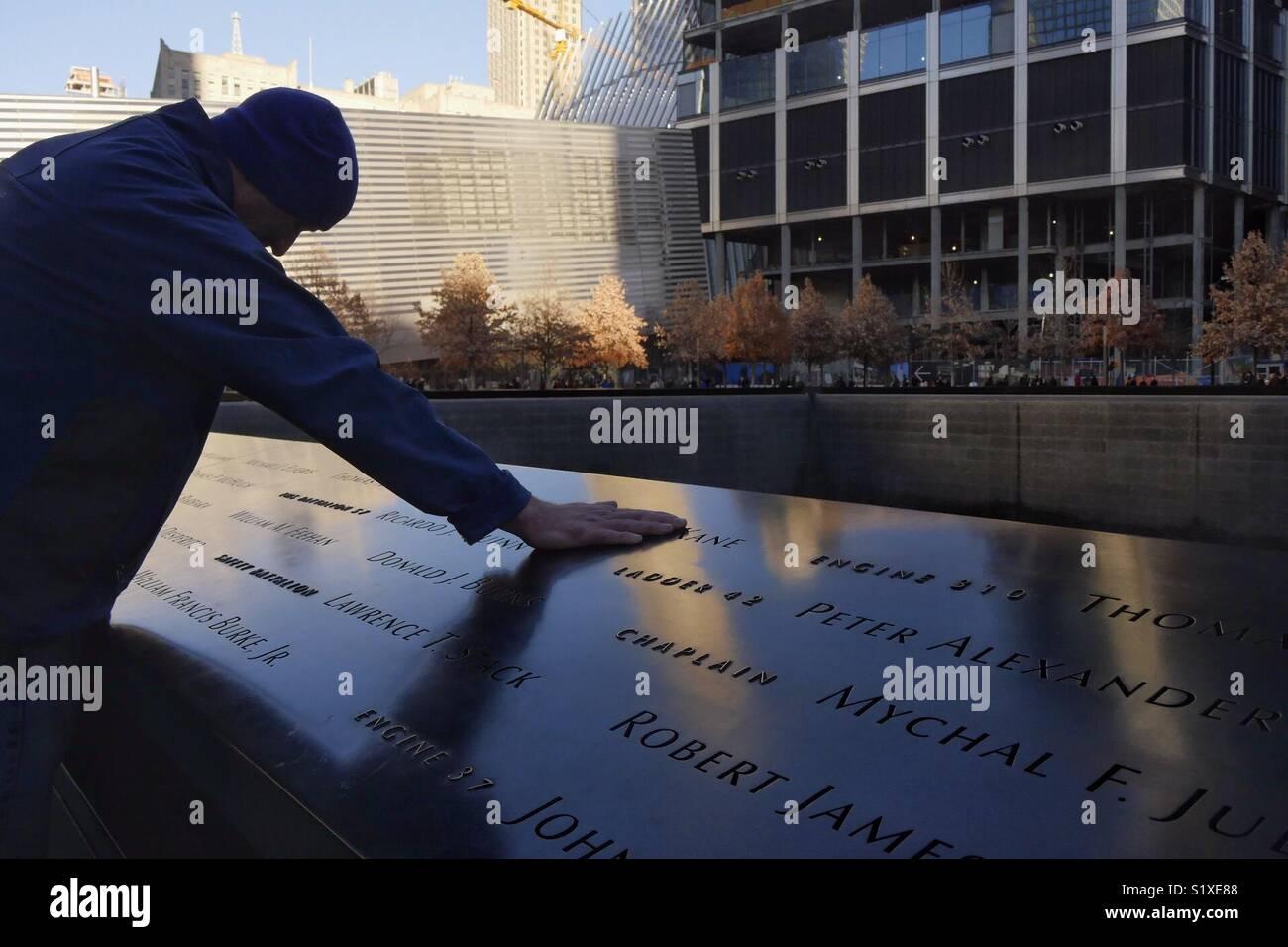 Mourner at Ground Zero, New York City, USA Stock Photo