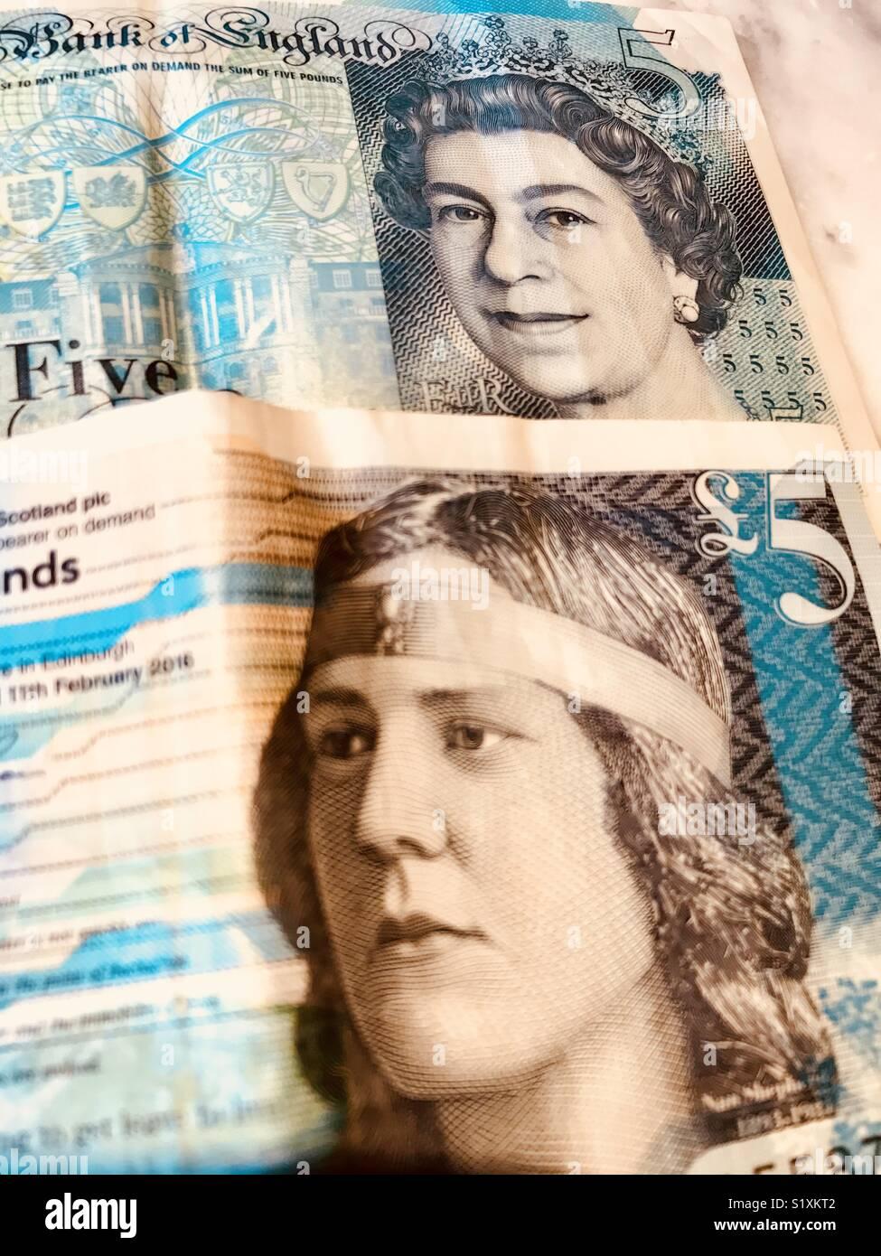British and Scottish five pound notes - Stock Image