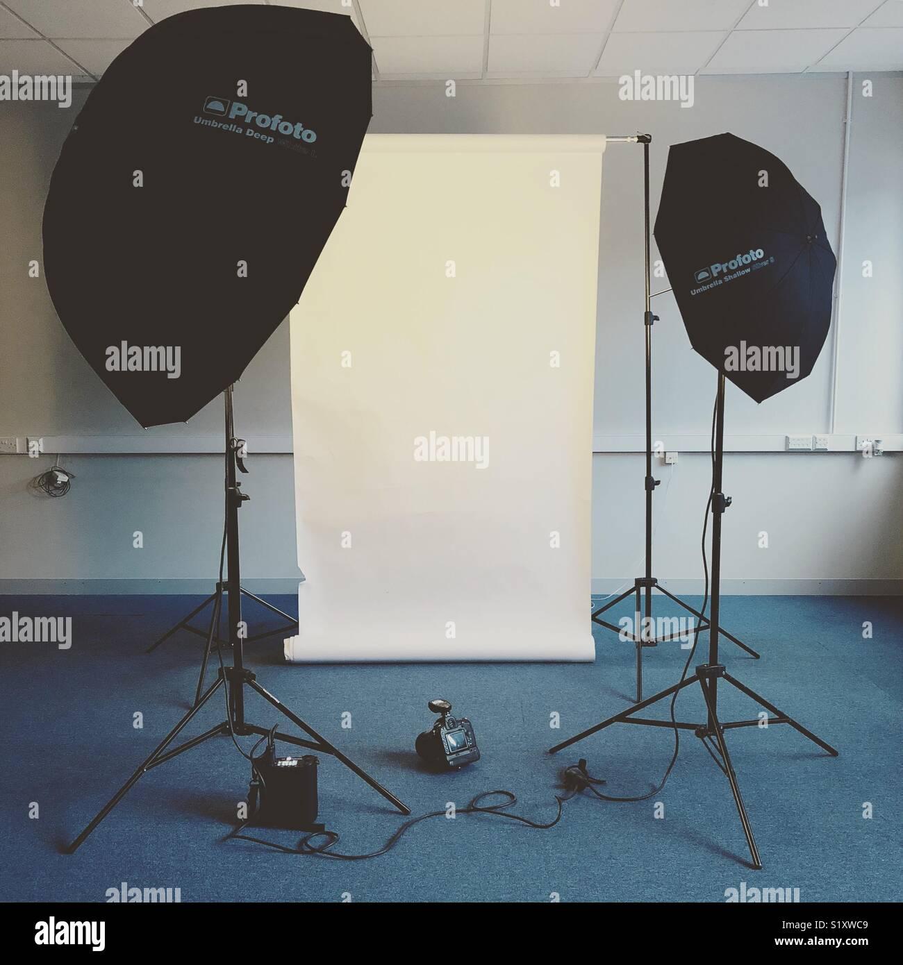 a professional photographer�s mobile studio setup with