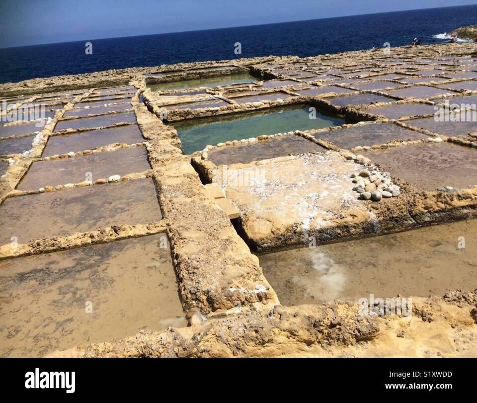Salt Pans in Gozo, Malta - Stock Image