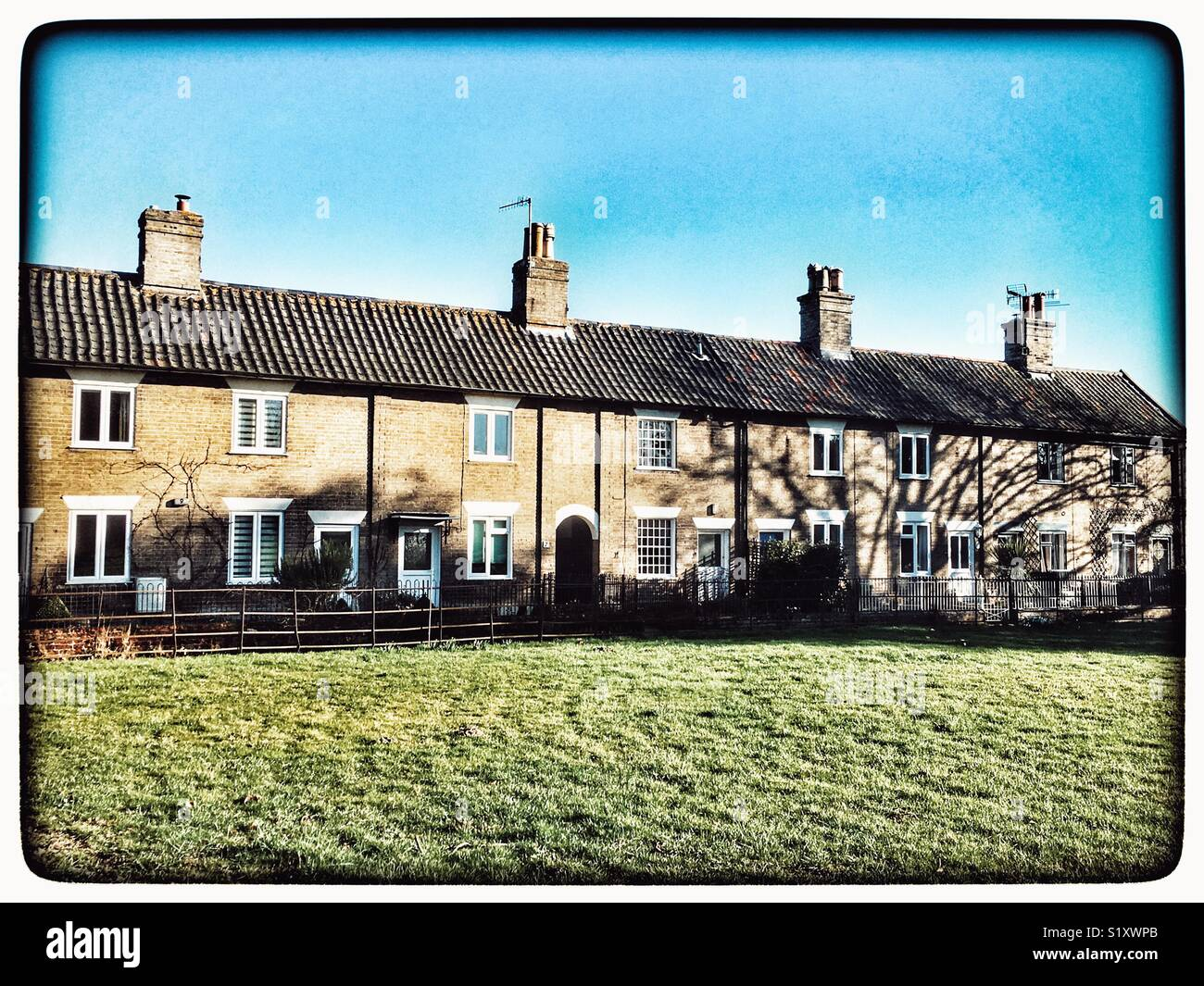 Traditional terraced houses England - Stock Image