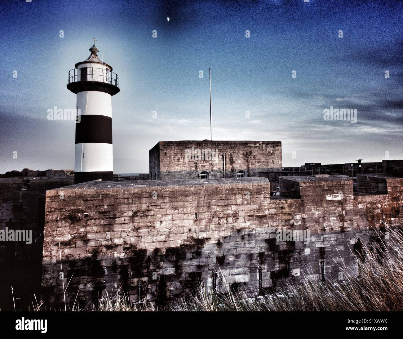 Southsea Castle with moon, Portsmouth, Hampshire, England, UK Stock Photo