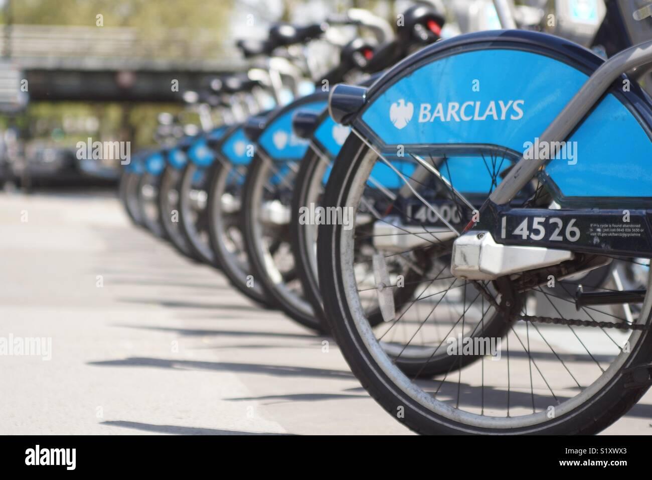 Barclays Boris Bikes, London, England, UK Stock Photo