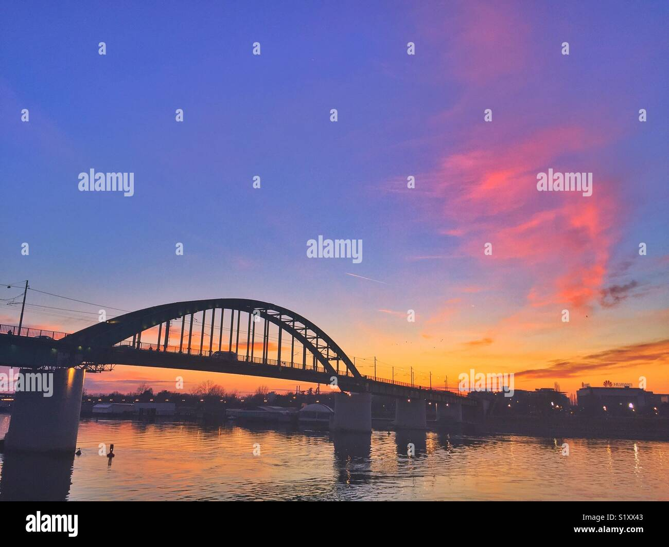 Sunsets in Belgrade - Stock Image
