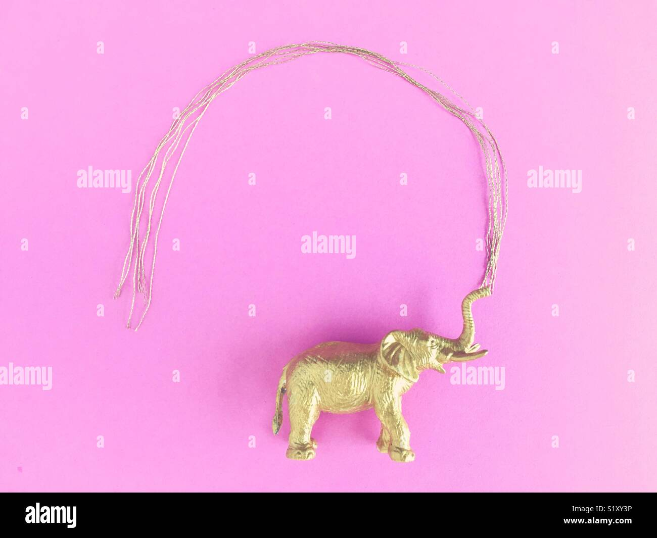 Conceptual: elephant spraying water in gold and pink. - Stock Image