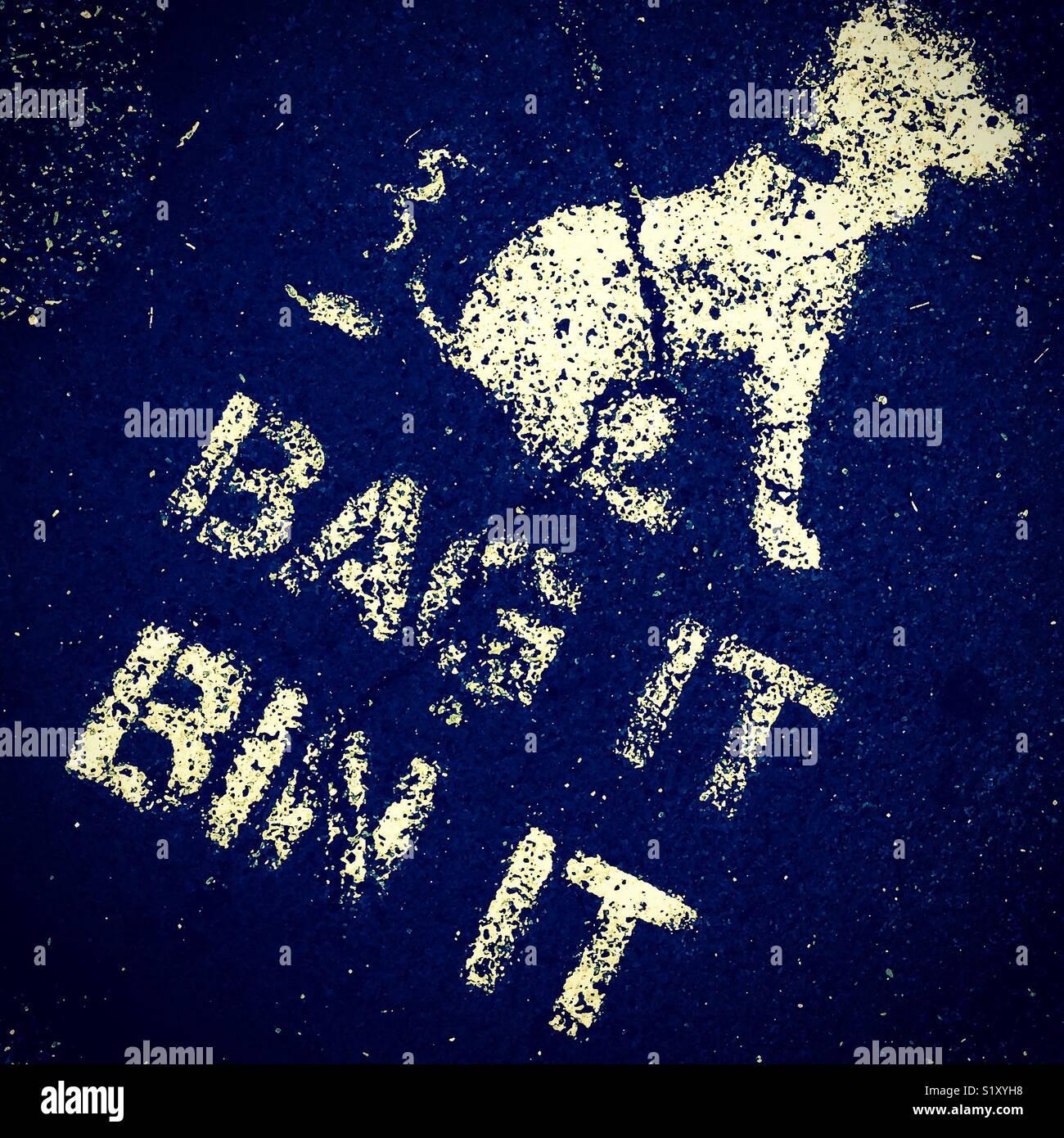 Bag it bin it keep dogs mess in the bins - Stock Image