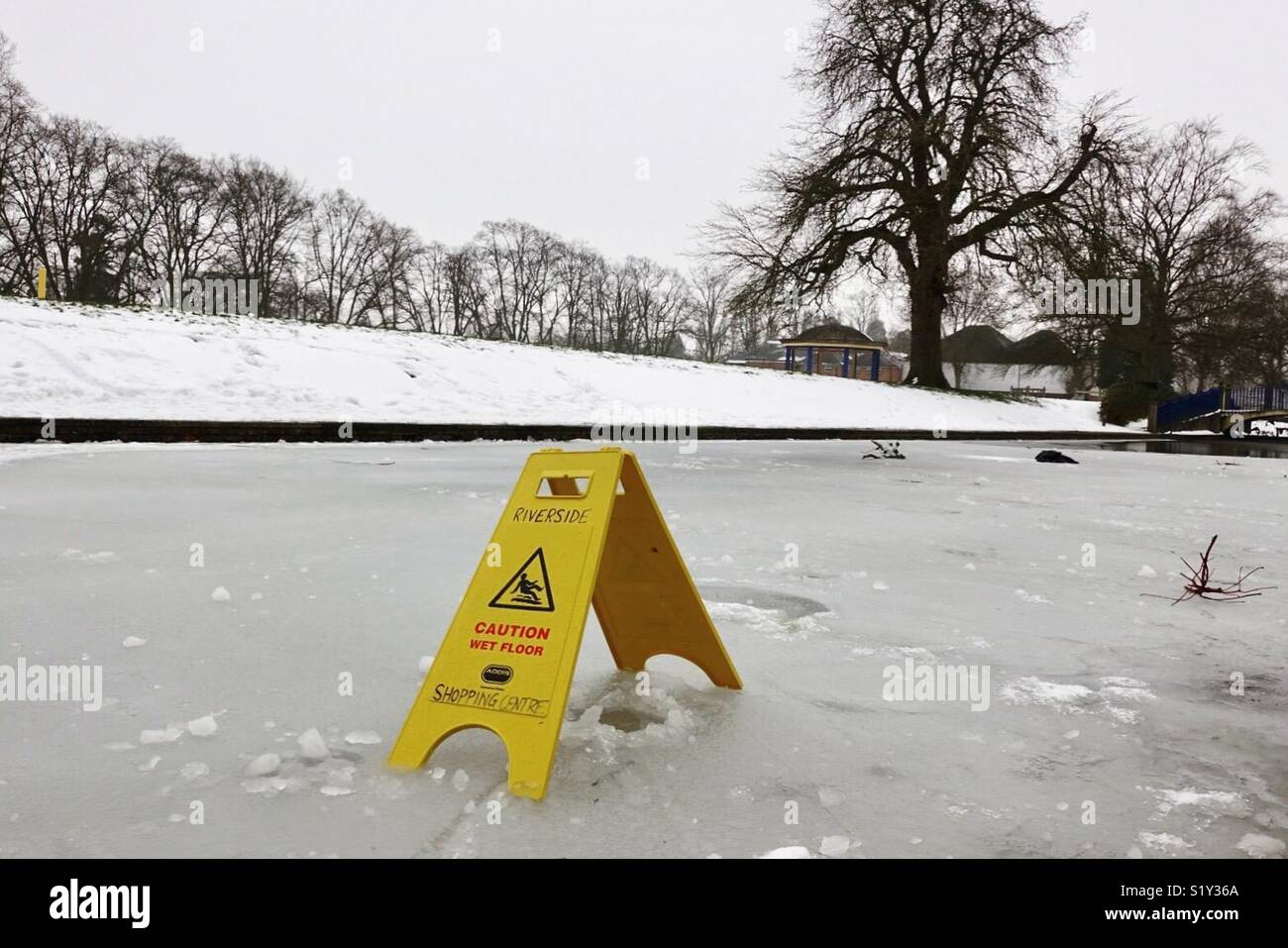 Caution slippery surface - Stock Image